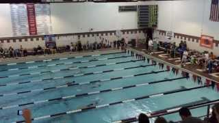 Callie swimming 100 backstroke at the Midwest regionals 3-2-14. She is lane 1 at the top