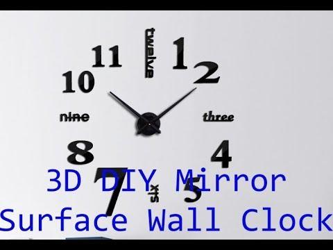 3D DIY Mirror Surface Wall Clock