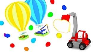 Balonowe Wyścigi Z Małymi Samochodzikami: buldożer, dźwig, koparka, bajka edukacyjna