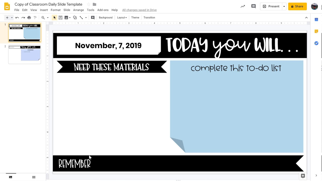 How To Create Your Own Daily Agenda Template Google Slides Youtube