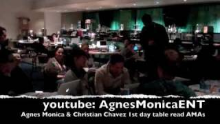 Agnes Monica & Christian Chavez 1st day table read or rehearsal for the AMAs 2010