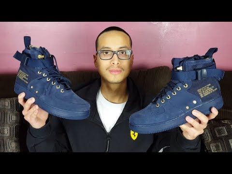 trompeta Bienes contraste  These Sneakers Are Low Key Fire! Nike SF Air Force 1 Mid Obsidian Review!!!  - YouTube