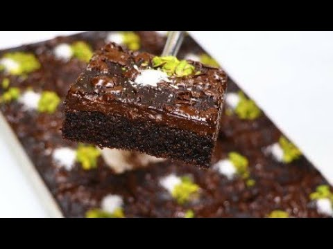كيكة السميد بالشوكولا والقهوة وطبقة شوكولا بدون كريمة ولا زبدة لذيذة وشهية جدا بسبوسة شوكولاته