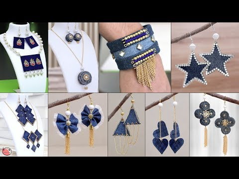 25 Old Jeans Jewelry Making at Home !!! Old Clothe Reuse Craft Ideas