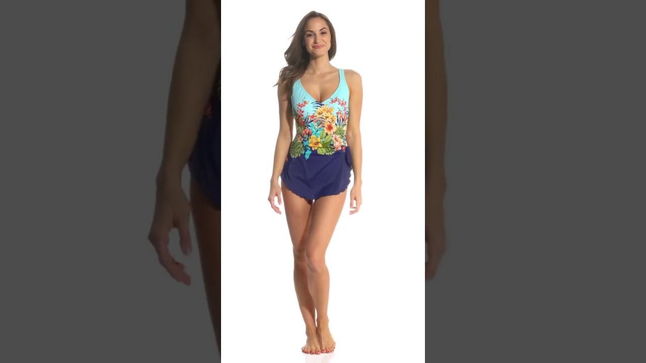 3e465c4a70 Maxine Floral Dreams Sarong One Piece Swimsuit | SwimOutlet.com ...