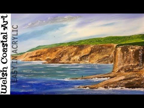 Seascape Painting Tutorial of Coastal Art Acrylic Step by Step Lesson