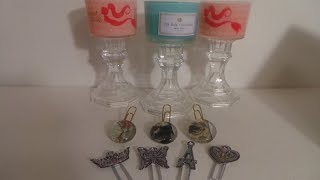 DOLLAR TREE DIY METAL STICKERS PAPER CLIPS,MERMAID CANDLE HOLDERS,FLATBACK MARBLE PAPER CLIPS PT.1