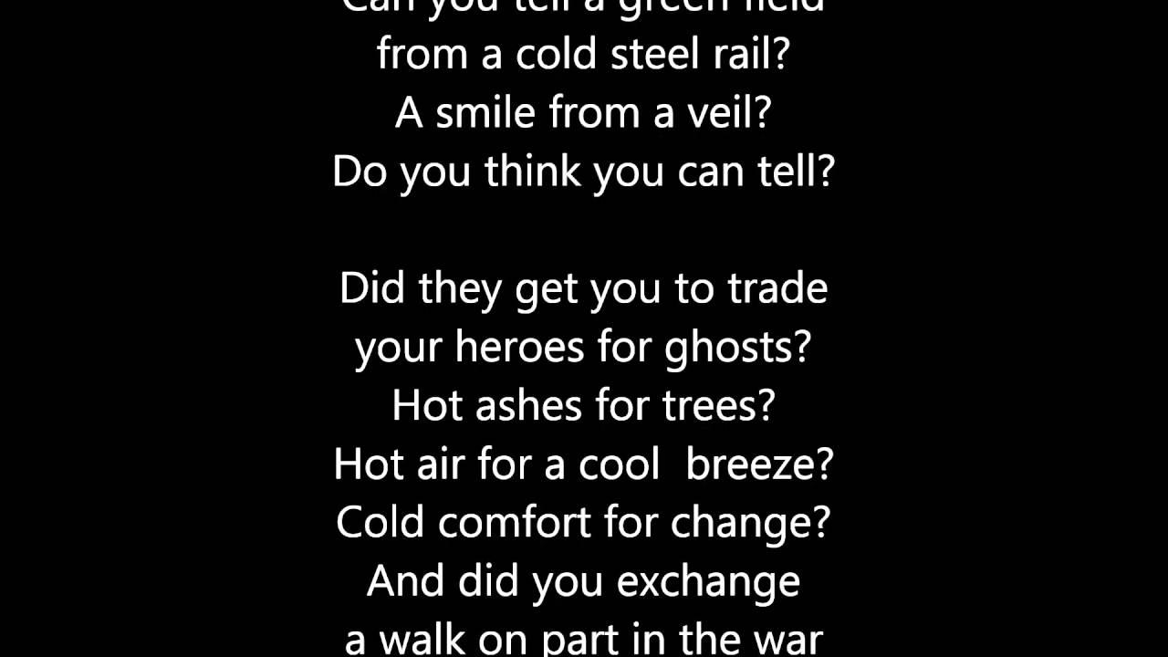 Pink Floyd - Wish You Were Here - Scroll Lyrics