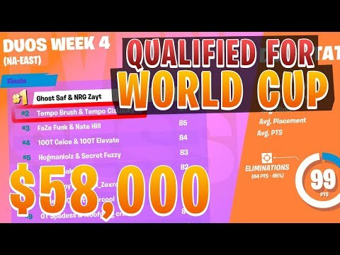 WE QUALIFIED FOR THE FORTNITE WORLD CUP FINALS (WON $58,000)