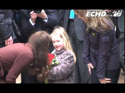 Kate, Duchess of Cambridge, greets crowds at Alder Hey Children's Hospital