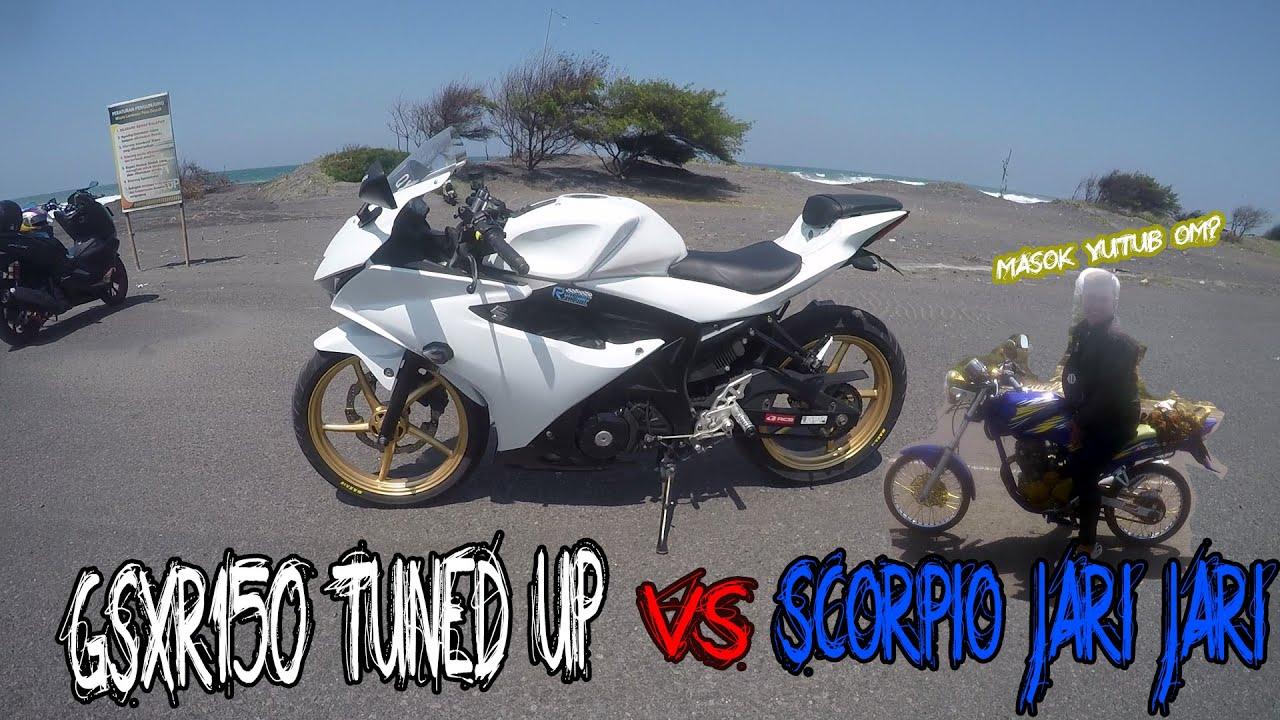 GSXR150 TUNED UP VS YAMAHA SCORPIO JARI JARI