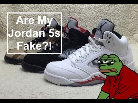 watch b725f 50dc4 Are My Jordan 5s Fake  Supreme Jordan V Real vs Fake! - YouTube