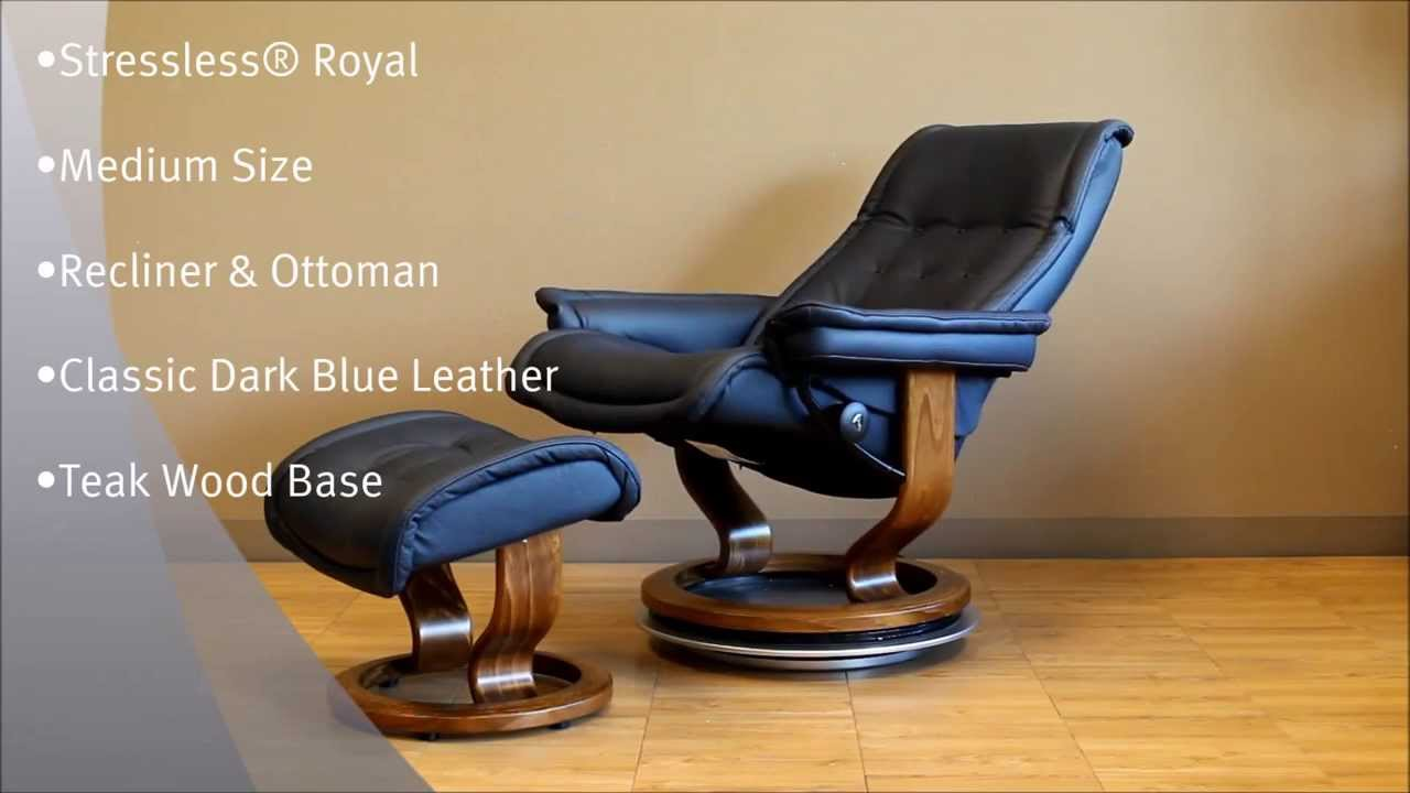 stressless royal recliner and ottoman in classic dark blue leather