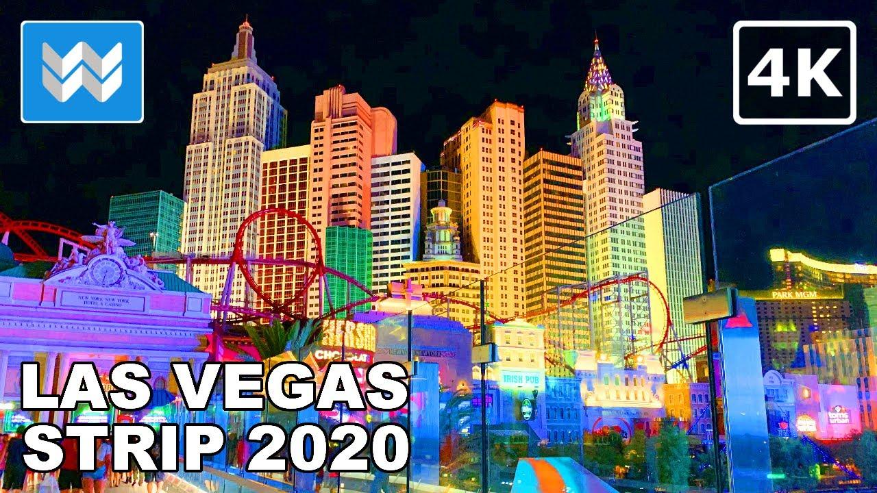 Las Vegas Strip At Night 2020 Virtual Walking Tour Treadmill Workout Video Binaural Sound 4k Youtube