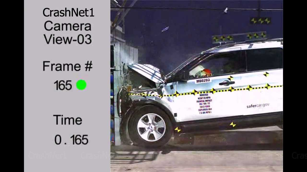 Ford explorer frontal crash test high speed camera 2013 nhtsa full length test in hd
