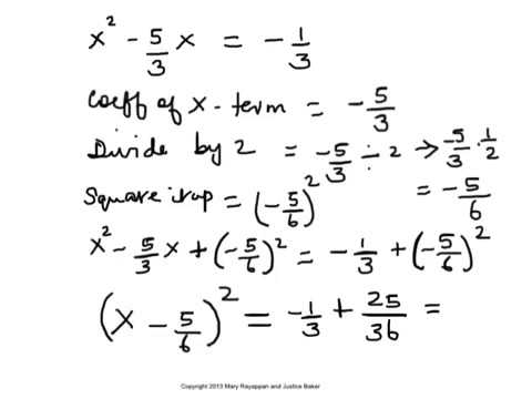 Solve a Quadratic Equation by Completing the Square when the ...