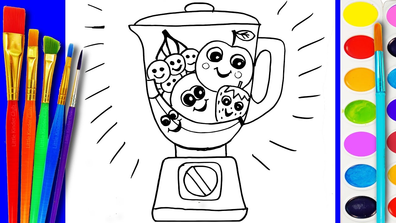 How to Paint Fruit Blender Toys Learning Coloring Pages ...