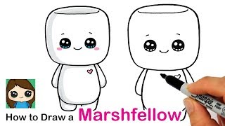 How to Draw a Cute Marshmallow Character Easy | Marshfellows