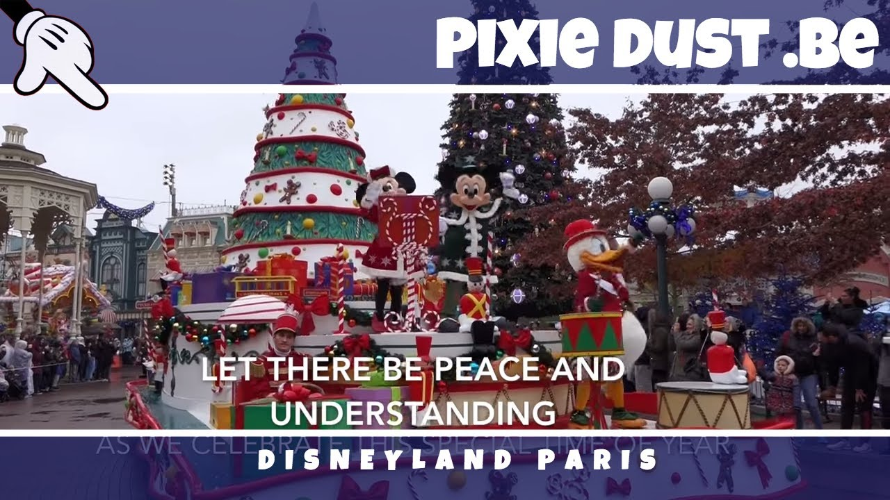 sing along with the lyrics christmas is here christmas parade theme song disneyland paris