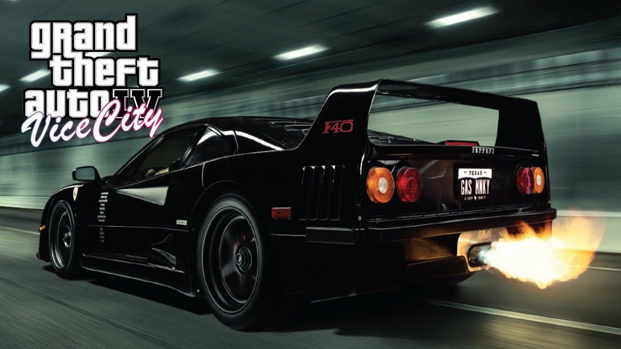 F40 Gas Monkey >> GTA 4 MIAMI VICE CITY Ferrari F40 + Vehicle Gauges script mod - YouTube