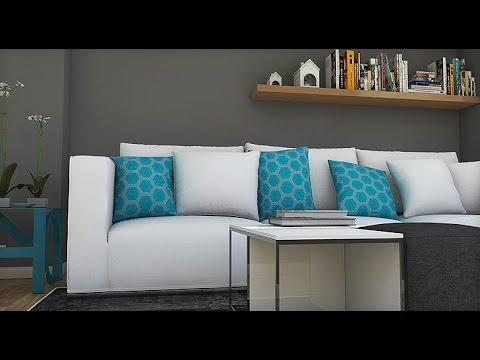 Dise o interior gris y turquesa apartamento 78 m2 youtube for Paredes turquesa y gris