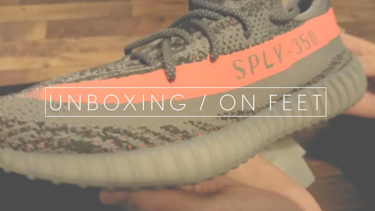 8d21ffab842044 Unboxing On Feet Adidas Yeezy Boost 350 V2 Grey Beluga-Solar Red ...