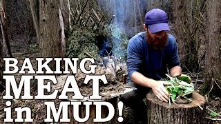 PRIMITIVE TECHNOLOGY | Baking Wild Meat in MUD! | ASMR (Silent)