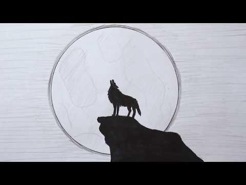 Как нарисовать Волка воющего на Луну поэтапно легко