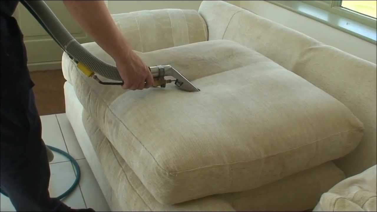 Sofa cleaning using steam - YouTube