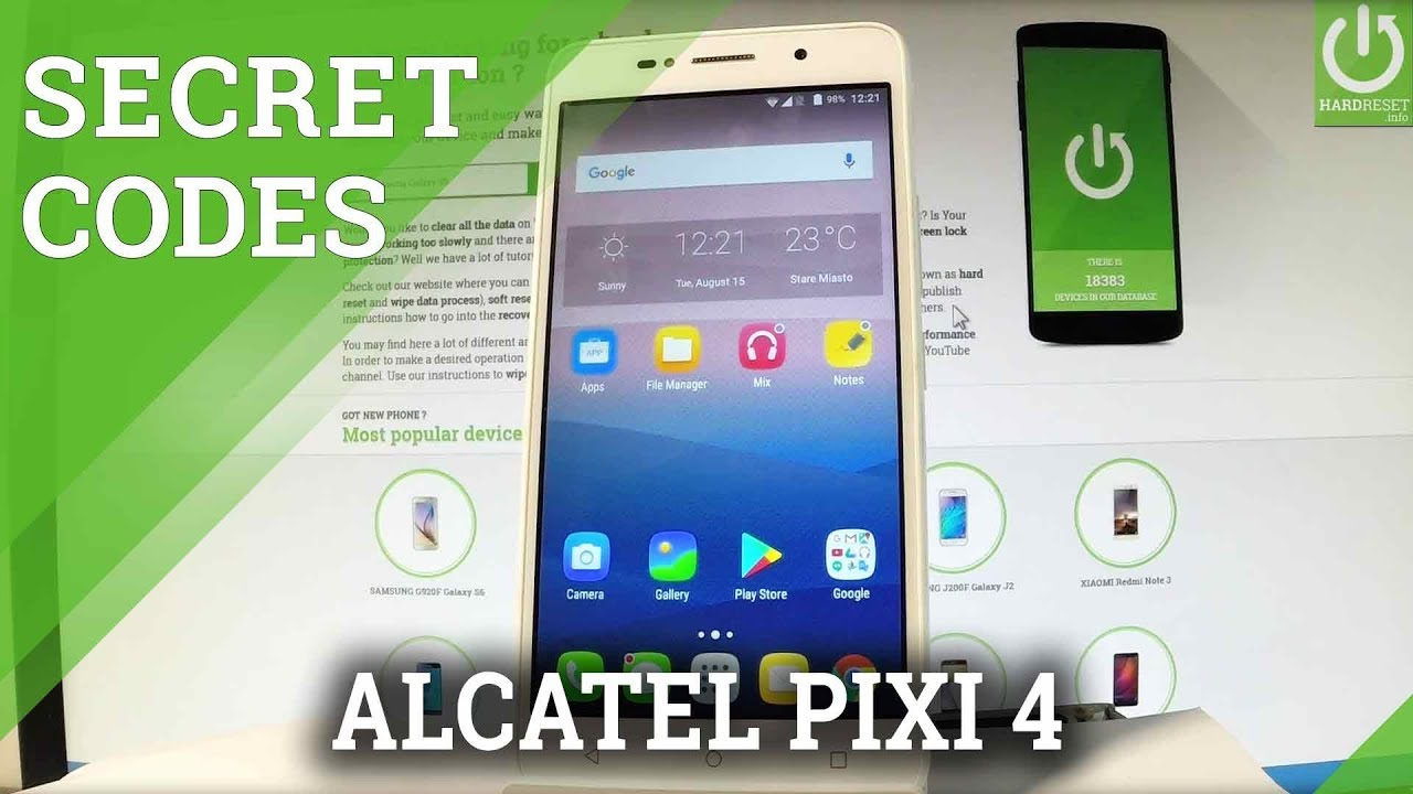 Codes ALCATEL 9003A OneTouch PIXI 4 (7) 3G - HardReset info