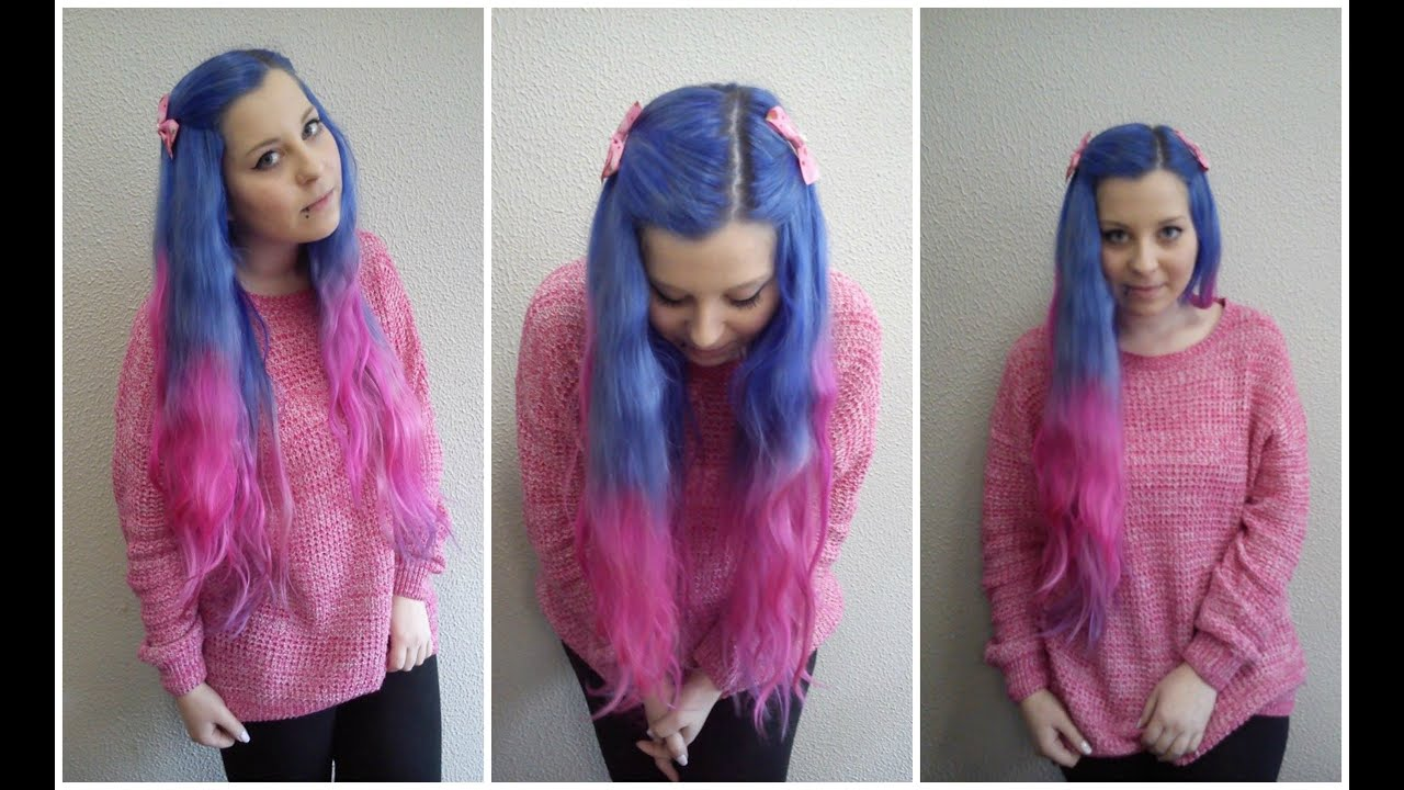how to do blue and pink hair ombre capelli blu e rosa