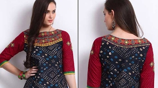 Boat neck design for kurti/blouse cutting and stitching step by step tutorial