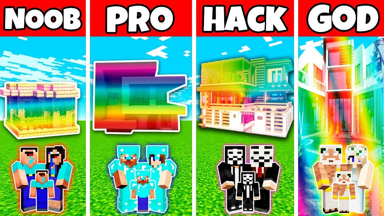 Download Minecraft: FAMILY RAINBOW MODERN HOUSE BUILD CHALLENGE - NOOB vs PRO vs HACKER vs GOD in Minecraft