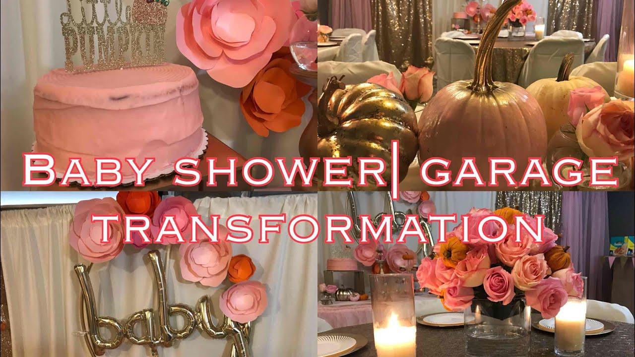 Baby Shower In The Garage Beautiful Diy Decor Transformation Little Pumpkin Themed