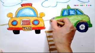 How to draw taxi for kids | Fun to draw car | Bé tập vẽ xe ô tô | Art for kids