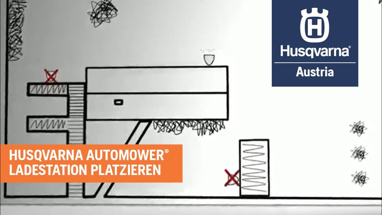 husqvarna automower installation schritt 1 platzieren der ladestation youtube. Black Bedroom Furniture Sets. Home Design Ideas