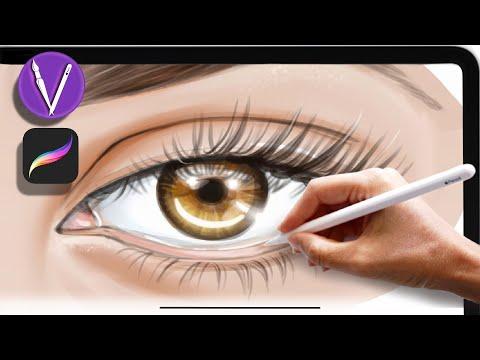 Как нарисовать реалистично глаз на планшете IPad в Procreate/ школа рисования/ урок рисования