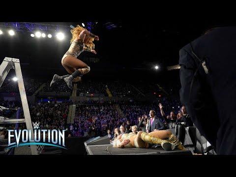 Becky Lynch's ladder leap sends Charlotte Flair through announce table: WWE Evolution 2018
