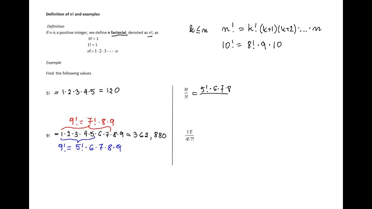 Definition Of A Factorial And Examples