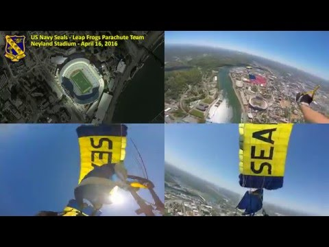 Navy SEALs Leap Frogs jump into Neyland Stadium (Multi-angle View)