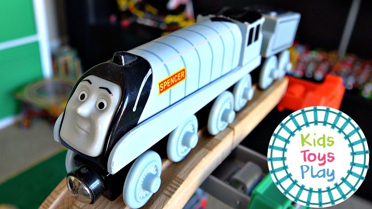 Thomas Friends Wooden Railway Train Races | Thomas Train Jumping Competition