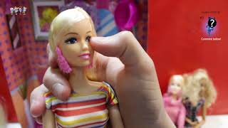 Barbie Doll Hair Style Salon - play baby dolls hair cut, hair wash, hair curl in Barbie salon shop