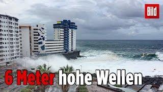 Monsterwelle auf Teneriffa reißt Balkon ab