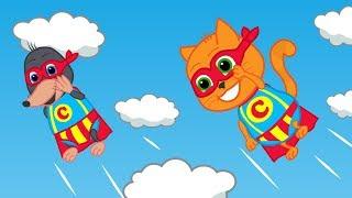 Familia de gatos - Superhéroe gatos bebés con mole Dibujos animados para niños