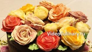 Украшение торта розами из крема   коротко о главном  Анонс!