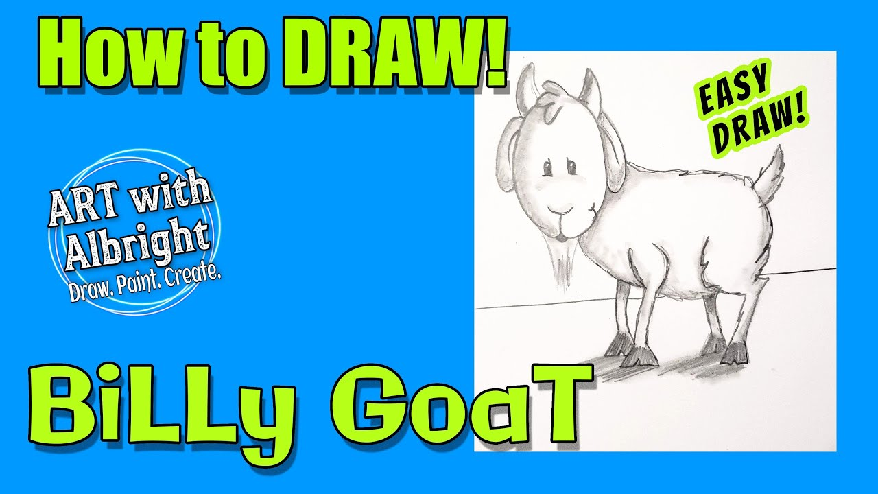 how to draw billy goat art with albright step by step