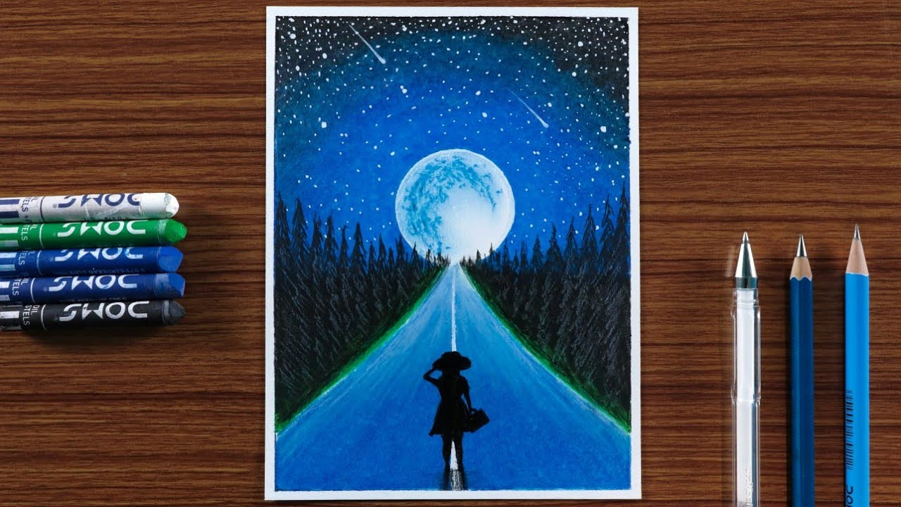 How to Draw scenery of a Girl on Road in Moonlight Night with Oil Pastels - step by step