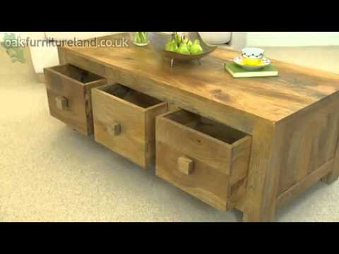Mantis Light Solid Mango 6 Drawer Coffee Table From Oak Furniture Land