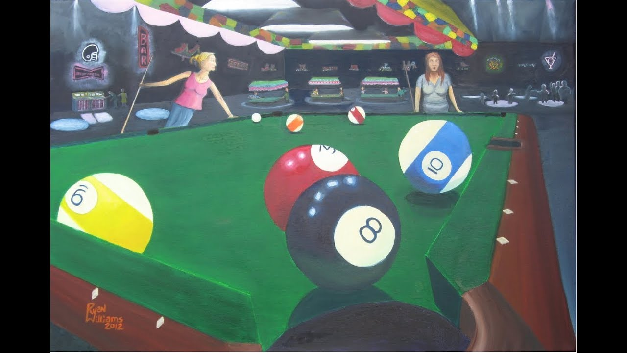 Ep Painting A Billiard Scene Oil Painting By Artist Ryan G - Pool table painting