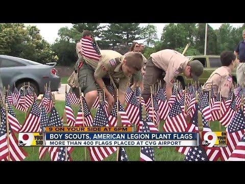 Boy Scouts, American Legion Plant Flags At CVG